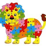 Daorier Puzzle Bois animaux de enfants,Puzzles de Lion alphabet,Tetris Bloc de construction