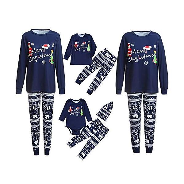 Trisee Navidad Conjunto de Pijama Familia, Camiseta de Manga Larga con Estampado Navideño Pants Pantalones y Gorro con… 1