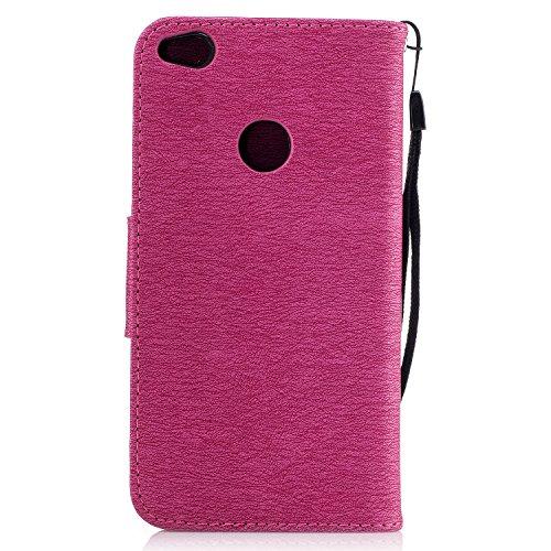 Hülle für iPhone 7 (4.7 zoll), Owbb Schmetterling Blumen Muster Handyhülle PU Ledertasche Flip Cover Wallet Case mit Stand Function Innenschlitzen Design Lila Rose Red