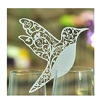 Sadkl Jypc Laser Cut Hummingbird Name Place Cards, Pack of 50, White