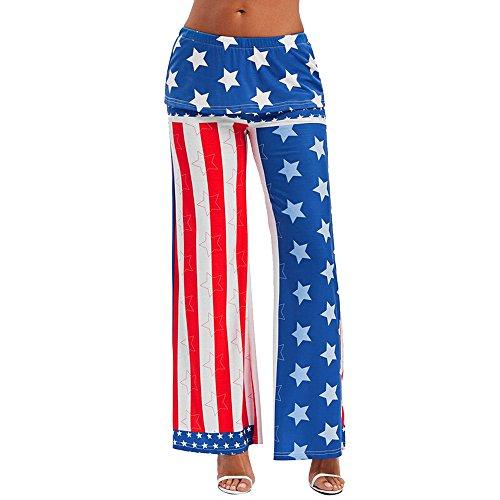SuperSU Mode Frau Amerikanische Flagge mit weitem Bein Hose Leggings lose Hose Damen Blumenmuster Weite Bein Lange Gedruckte Hose Mit Micro-Elastic Cord Entspannt für Verschiedene Körperformen (M, B)