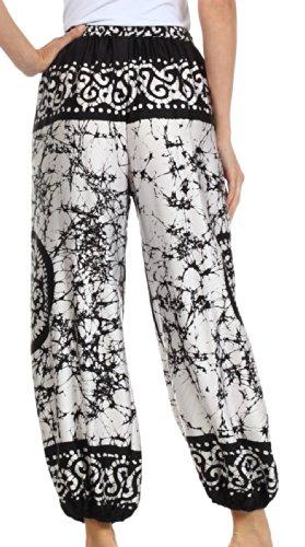 Sakkas Sephora breite Bein seidig Harem Hose Weiß