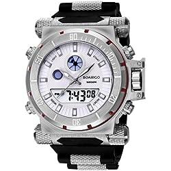 boamigo 5ATM Waterproof Round Dial stoporologio & Luminous & Alarm, Anzeige Week Function Herren Quarz + Digital Double Movement Armbanduhr mit Silikon Band (Silver + White) (Silver)
