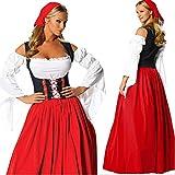 Mujer Vestido Largo Halloween Disfraz Oktoberfest Head Bufanda Rojo XL