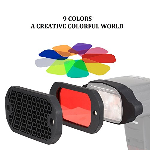 PHOLSY Blitz Gele Waben Gitter Blitz Zubehör Beleuchtungs Gele Farbfilter Kit für Canon, Nikon, Nissin, Olympus, Pentax, Sony, Yongnuo, Godox...