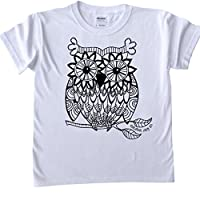 T-Shirts For Kids To Colour In. Printed Outline - Big Owl Design, Size: Age 7-8 - Fabric pens sold separately