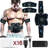 Electroestimulador Muscular Abdominales, X-EUCO Masajeador Eléctrico Cinturón con USB,Estimulador Abdominal Ejercitar Abdomen/Brazo/Piernas/Cintura para Hombre Mujer (Azul)