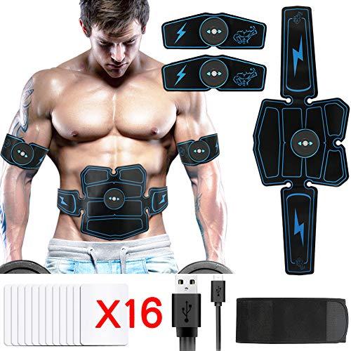 Hieha Electroestimulador Muscular, Abdominales Masajeador Eléctrico Cinturón con USB, Estimulador Muscular Ejercitar Abdomen/Brazo/Piernas/Cintura para Hombre Mujer (Azul)