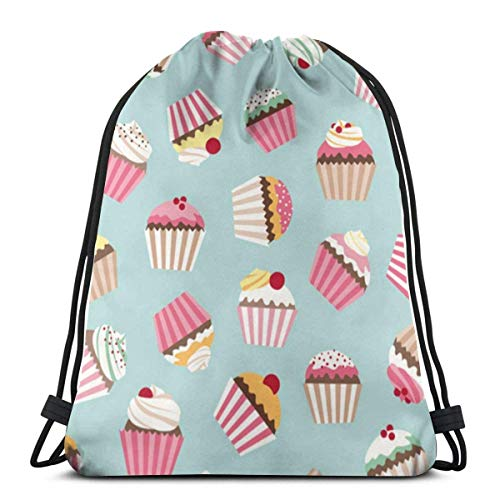 best gift Blue Cupcake Pink Drawstring Bag Backpack Travel Gymsack Drawstring Backpack Sackpack 16.9x14 inch Beste Cupcake