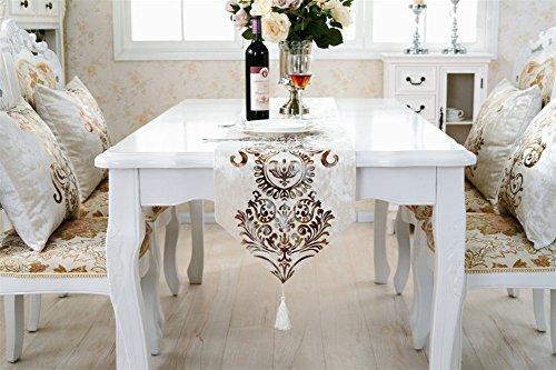 Preisvergleich Produktbild neeiors Luxus europäischen Stil Stickerei Esstisch Tischläufer mit Quaste Home Hochzeit Party Tisch Deko Läufer 32x 180cm beige