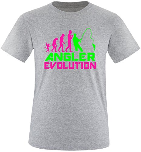 EZYshirt® Angler Evolution Herren Rundhals T-Shirt Grau/Pink/Neongr