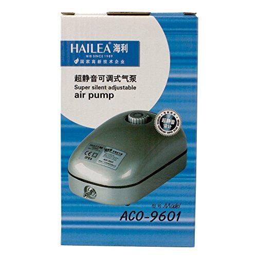 Hailea ACO9601 d'Aria regolabile-192 l/h 1 Uscita Output 4 mm Pompa d\'Aria Regolabile, Nero, 11x8x18 cm