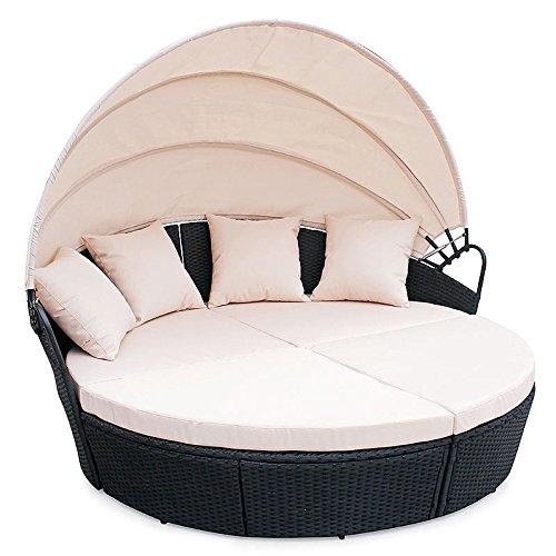 POLY RATTAN Sunbed Lounge Gartenset Schwarz Sofa Garnitur Polyrattan Gartenmöbel Neu