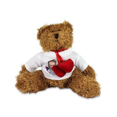Teddybär 'Hardy' mit individuell bedrucktem T-Shirt - Foto Logo Bild Sitzhöhe ca. 200 mm mit bedruckbarem Shirt mit Wunschmotiv (Bilder Von Teddybären)