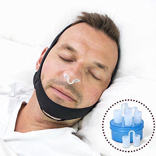Anti Schnarchen Kinnriemen Lösung - Mit Einstellbaren Nasenschlitzen in 3 Größen, Komfortables Anti-Schnarchen Gerät zum Schlafen und Dilatator - Die perfekte Kiefer-Atemhilfe Für Schlafstörungen. Es Lohnt Sich Für Eine Ruhige Nacht (Nacht-lösung)