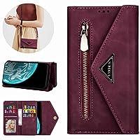 Mylne Galaxy A40 Crossbody Zipper Case,Wallet Purse Handbag with Wristlet & Shoulder Strap Card Slots Pocket PU Leather Flip Kickstand Cover for Samsung Galaxy A40
