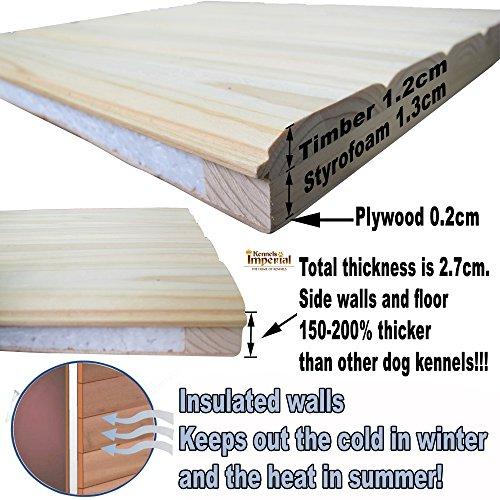 Große, isolierte Norfolk Hundehütte aus Holz mit entfernbarem Boden zur einfachen Reinigung A - 6