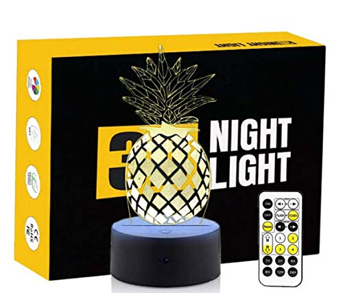 Leisurely Lazy Fruit Pineapple Shape Colorful Gradients 3D Optical Illusion Lamp 7 Colors Change Touch Button and Timer Remote Control Children Kids Bedside Table LED Night Light