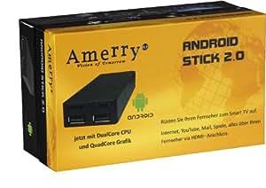 Amerry AM android02 clé uSB 2.0 pC-processeur cortex a9–mémoire vive 1Go rAM 4Go, hDD, logement pour carte microSD, full hD, wi-fi, bluetooth, uSB 2.0 (noir)