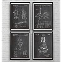Space Patent Poster Affiche - Set Of 4 - Espace Nasa Science Print Gift Outer Astronaut Vintage Blueprint Spaceship Aerospace Wall Art Bedroom Decor Rocket Nursery - Frame Not Included