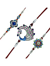 Mahi Rhodium Plated Combo Of 3 Designer Rakhis With Crystal Stones And Artificial Pearl For Adorable Brothers...