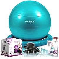 Gymnastikball Mind Body Future. Swiss Ball perfekt als Sitzball u. Therapieball. für Yoga, Pilates, Schwangerschaft. Robust, rutschfest, hypoallergisch. 55, 65 o. 75 cm mit Ring u. Pumpe.