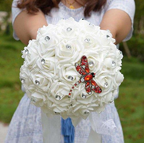 Weihnachtsgeschenk Braut Hand Holding Bouquet Braut Brautjungfer Handgelenk Blumen White Rose Petals Hochzeitsgeschenke ( Color : Rot )