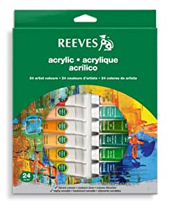 Reeves Acrylic Colour Tube Set, 10 ml - 24 Pack