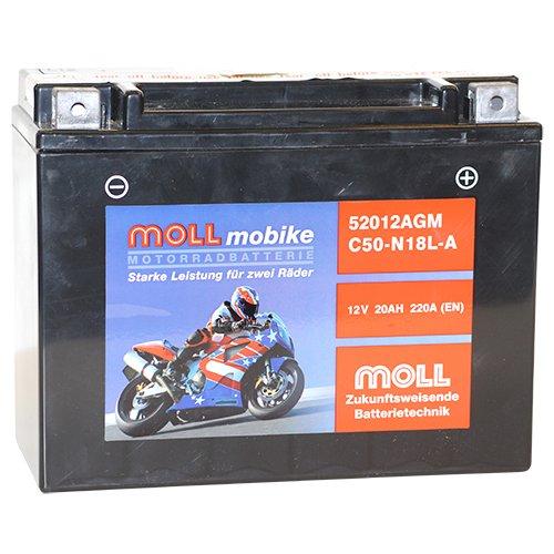 Moll mobike AGM Motorradbatterie C50-N18L-A 20Ah 12V 220A - 52012