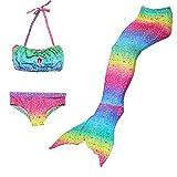 HHD 3Pcs establece bañadores niña Traje de baño Bañador De Sirena Disfraz De Princesa Bikini...