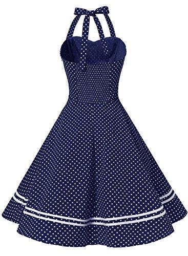 Damen 1950er Jahre Vintage Abendkleid Elegant Neckholder Retro Cocktailkleid Faltenrock Kleid Pinup Baumwolle Rockabilly Partei Swing - 2