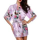 CHENGYANG Donna Vestaglie Scollo a V Kimono Corto Raso Pavone e Fiore Pigiama Camicia da Notte (Luce Viola, M)