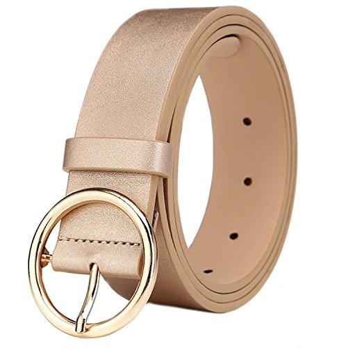 MESHIKAIER Damen mode PU Leder Gürtel Taillengürtel Hüftgürtel Casual Waist Belt mit Metallisch Schnalle (Golden)