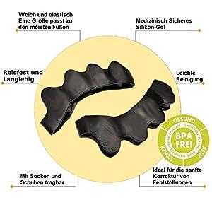 4 Stück PREMIUM KingSnow Zehenspreizer gegen Hallux Valgus Krallenzehen – Super weich, komfortabel und hohe Lebensdauer – Mit Zufriedenheitsgarantie – BPA Frei