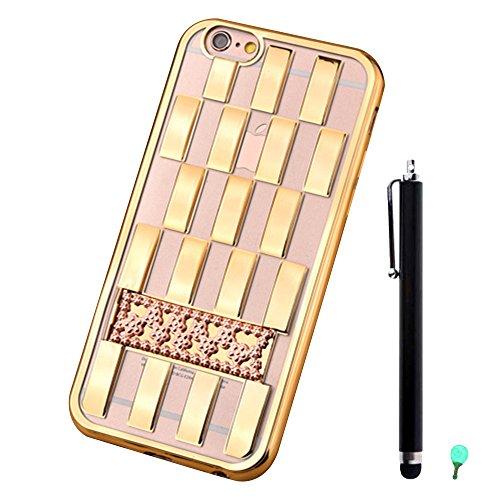 """Coque pour Apple iPhone 6/6S 4.7"""" - Aohro Soft TPU Étui Housse Electroplate Métal Lignes tressées Back Case Cover avec Kickatand + Stylus Pen + Dust Plug - Gris Or"""