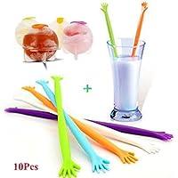 MAXGOODS 10-Pack Mezcla de Color Varillas Agitadoras para Jarra Vaso Bebidas Diseño Mano Ayúdame con 10 Piezas Moldes para Hacer Bolas de Hielo