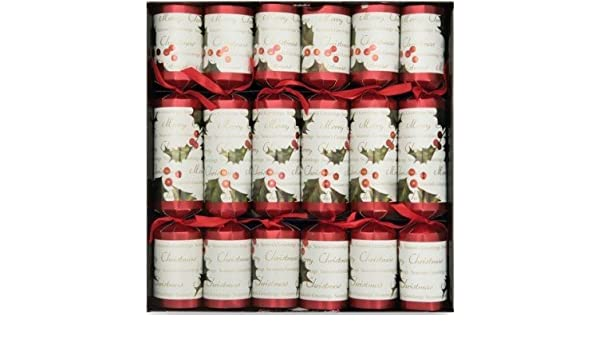 Celebration Red and Green Festive Holly Catering Christmas Crackers Box of 50