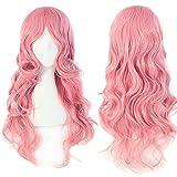 S-noilite® 60cm Cosplay Perücke Langhaarperücke Gelockt Wellig lang Manga Damen voll Wig Partei Party Kostüm - Rosa