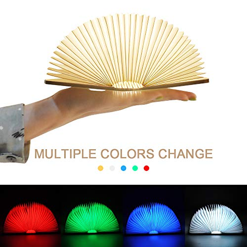 LED Lampe Livre,Lampe d'ambiance Pliante en Forme de Livre avec 500mAh Batteries, Port USB Lampe de Chevet,Veilleuse lumières Décoratives,Multicolore