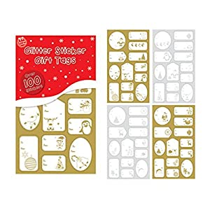 100 Foil Sticker Christmas Gift Tags Labels Gold and Silver from Tallon