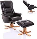 The Shanghai - Bonded Leather Recliner Swivel Chair & Matching Footstool in Black