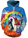 AIDEAONE Männer Frauen Hoodies 3D Drucken Fleece Rainbow Unicorn Pullover Sweatshirt mit Kapuze