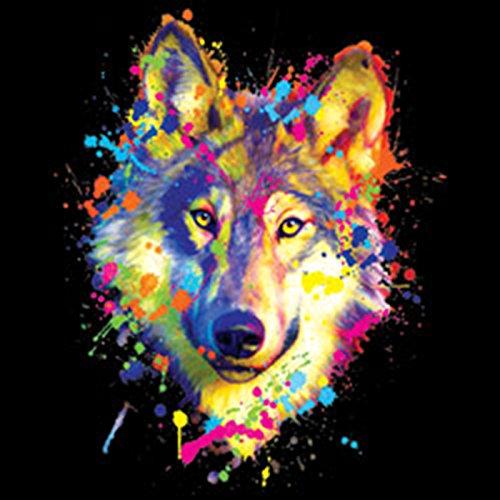 Pop Art Style Tank Top Neon Wolf Shirt 4 Heroes Beach Tanktop Herren Geburtstag Geschenk geil bedruckt Schwarz