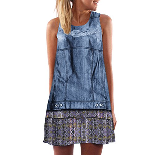 Damen Sommer ärmelloses Rundhals Sexy Kleid Blue Denim Print Mode Kleid Polyester Skinny Mini Dress (2XL)
