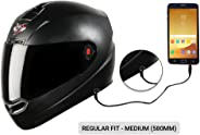 Steelbird SBA-1 7Wings HF Dashing Full Face Helmet with Smoke Visor and Detachable Handsfree Device (Regular Fit Medium 580 M