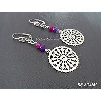 Minimalistische Ohrringe aus Edelstahl, rosa und lila getönte Jade, filigraner Druck, helles Schmuckstück