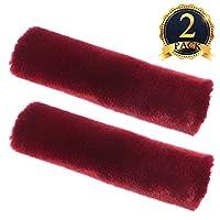 UBANG 2 Pack Universal Car Seat Belt Covers Soft Faux Sheepskin Shoulder Pads, Wine Red