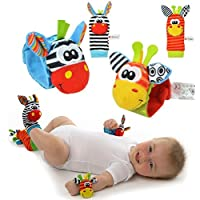 SOZZY Handgelenk-Geklapper und Fuss-Sucher (4pcs set) PÄDAGOGISCHE FÖRDERUNG Plüsch-weiches Spielzeug preisvergleich bei kleinkindspielzeugpreise.eu