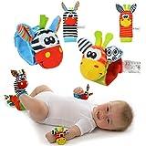 SOZZY Handgelenk-Geklapper und Fuss-Sucher (4pcs set) PÄDAGOGISCHE FÖRDERUNG Plüsch-weiches Spielzeug
