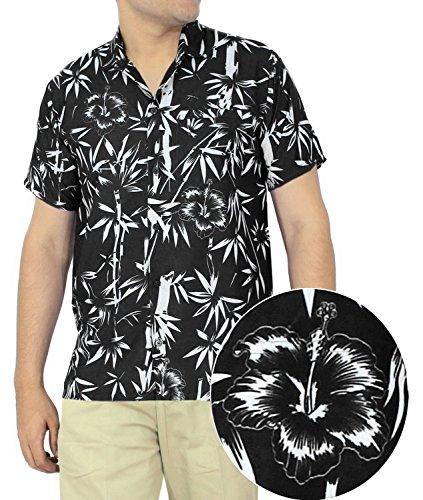 LA-LEELA-Shirt-camisa-hawaiana-Hombre-XS-5XL-Manga-corta-Delante-de-bolsillo-Impresin-hawaiana-casual-Regular-Fit-Camisa-de-Hawaii-Negro-1890-3XL